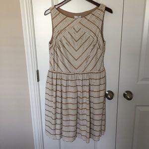 Cream/Gold Striped Dress